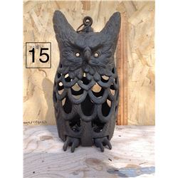 CAST IRON OWL CANDLE LAMP