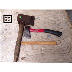 OLD WOODEN HANDLE HATCHET WITH LEATHER SHEATH COVER & HILKO HATCHET