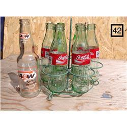 VINTAGE DRINK CARRIER WITH 7 NEW BOTTLES
