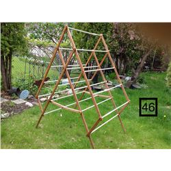OLD WOODEN, FOLDING,  CLOTHES DRYING RACK
