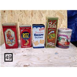 5 TALL METAL KITCHEN PRODUCT TINS. SUNSHINE SALTINES, RITZ CRACKERS, PASTA, UNCLE BENS RICE, CHRISTI