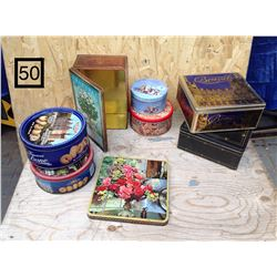 LOT OF ROUND AND SQUARE METAL CONTAINERS