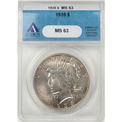 1935 $1 Peace Silver Dollar Coin ANACS MS63