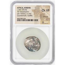 393-294 BC Attica Athens AR Tetradrachm Athena Owl Coin NGC Choice VF