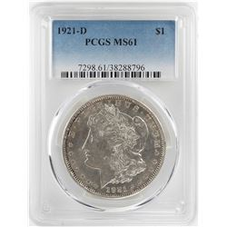 1921-D $1 Morgan Silver Dollar Coin PCGS MS61