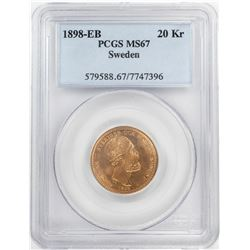 1898-EB Sweden 20 Kroners Gold Coin PCGS MS67