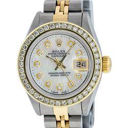 Rolex Ladies Quickset Two Tone MOP Channel Diamond Datejust Wristwatch With Rolex Box
