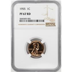1955 Proof Lincoln Wheat Cent Coin NGC PF67RD