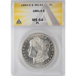 1881-S $1 Morgan Silver Dollar Coin ANACS MS64 PL