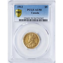 1913 $5 Canada George V Gold Coin PCGS AU50