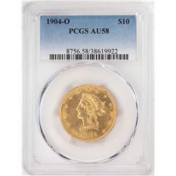 1904-O $10 Liberty Head Eagle Gold Coin PCGS AU58