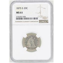 1875-S Twenty Cent Piece Coin NGC MS61