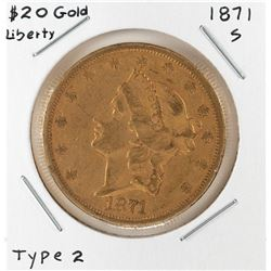 1871-S Type 2 $20 Liberty Head Double Eagle Gold Coin
