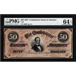 1864 $50 Confederate States of America Note T-66 PMG Choice Uncirculated 64EPQ