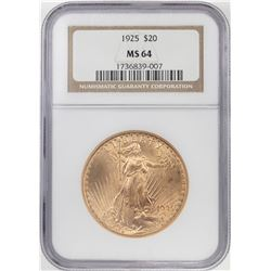 1925 $20 St Gaudens Double Eagle Gold Coin NGC MS64