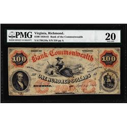 1858 $100 Bank of the Commonwealth Richmond, VA Obsolete Note PMG Very Fine 20