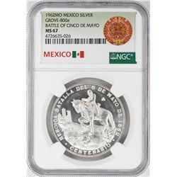 1962Mo Mexico Battle of the Cinco De Mayo Silver Coin NGC MS67