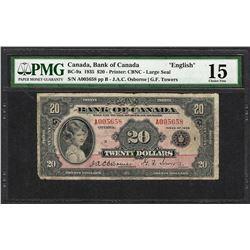 "1935 $20 Bank of Canada ""English"" Bank Note BC-9a PMG Choice Fine 15"