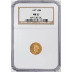 1855 $1 Liberty Head Gold Dollar Coin NGC MS63