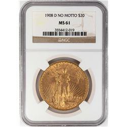 1908-D No Motto $20 St. Gaudens Double Eagle Gold Coin NGC MS61