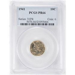 1941 Proof Mercury Dime Coin PCGS PR66