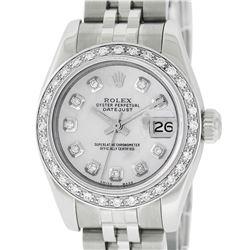 Rolex Ladies Stainless Steel Quickset MOP Diamond Datejust Wristwatch With Rolex Box