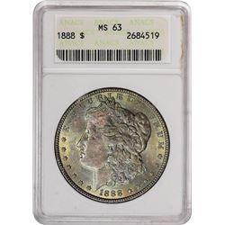 1888 $1 Morgan Silver Dollar Coin ANACS MS62 Amazing Toning