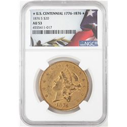 1876-S $20 Liberty Head Double Eagle Gold Coin NGC AU53