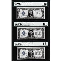 (3) Consecutive 1928 $1 Silver Certificate Notes Fr.1600 PMG Gem Uncirculated 66EPQ