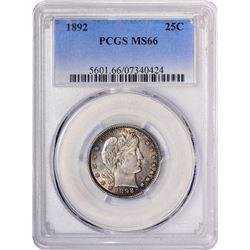 1892 Barber Quarter Coin PCGS MS66