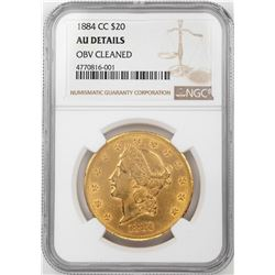 1884-CC $20 Liberty Head Double Eagle Gold Coin NGC AU Details