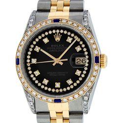 Rolex Mens Two Tone 14K Black Diamond String Lugs & Sapphire Datejust Wristwatch