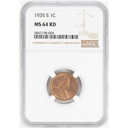 1935-S Lincoln Wheat Cent Coin NGC MS64RD