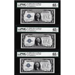 (3) Consecutive 1928B $1 Silver Certificate Notes Fr.1602 PMG Gem Uncirculated 65EPQ