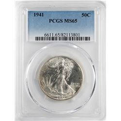 1941 Walking Liberty Half Dollar Coin PCGS MS65