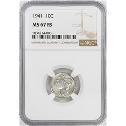 1941 Mercury Dime Coin NGC MS67FB