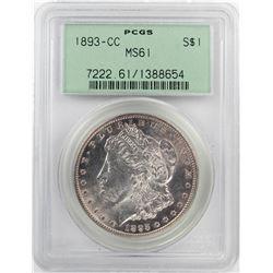 1893-CC $1 Morgan Silver Dollar Coin PCGS MS61 Old Green Holder