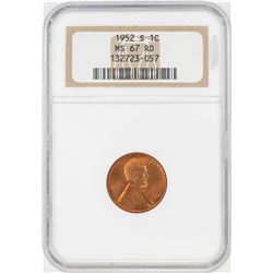 1952-S Lincoln Wheat Cent Coin NGC MS67RD