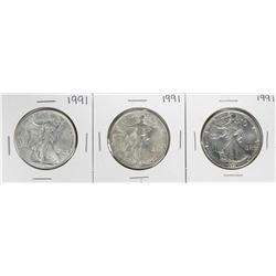 Group of (3) 1991 $1 American Silver Eagle Coins