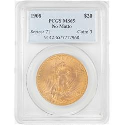 1908 No Motto $20 St Gaudens Double Eagle Gold Coin PCGS MS65