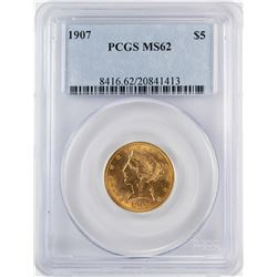 1907 $5 Liberty Head Half Eagle Gold Coin PCGS MS62