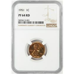 1951 Proof Lincoln Wheat Cent Coin NGC PF64RD