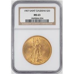 1907 $20 St. Gaudens Double Eagle Gold Coin NGC MS63