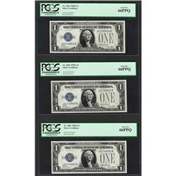 (3) Consecutive 1928A $1 Funnyback Silver Certificate Notes Fr.1601 PCGS Gem New 66PPQ