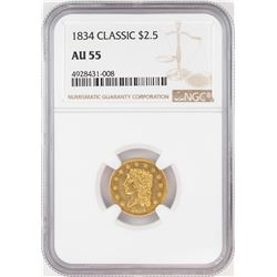 1834 $2 1/2 Classic Head Quarter Eagle Gold Coin NGC AU55