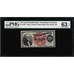 1863 25 Cent 4th Issue Fractional Currency Note Fr.1307 PMG Choice Uncirculated 63EPQ