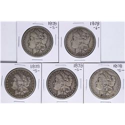 Lot of (5) 1878-S $1 Morgan Silver Dollar Coins