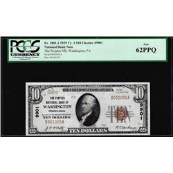 1929 $10 NB of Washington, PA CH# 9901 National Currency Note PCGS New 62PPQ