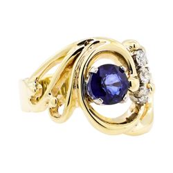 14KT Yellow Gold 1.29 ctw Sapphire and Diamond Ring