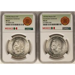 Lot of (2) 1957Mo Mexico 5 Pesos Constitution Centennial Silver Coins NGC MS65